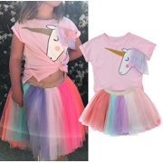 aab95ae390 Fashion 2Pcs Toddler Kids Baby Girls Party Birthday Unicorn Top T-shirt  Tulle Tutu Skirt
