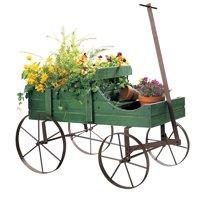 Amish Wagon Decorative Indoor / Outdoor Garden Backyard Planter, Green