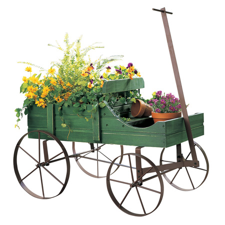 - Collections Etc Amish Wagon Indoor/Outdoor Decorative Planter - Green