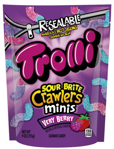 Trolli Sour Brite Crawler Minis Very Berry Gummi Candies, 9 Oz.