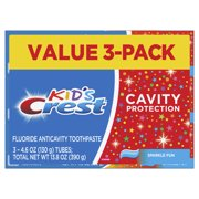 (Pack of 3) Crest Kid's Cavity Protection Toothpaste (children and toddlers 2+), Sparkle Fun Flavor, 4.6 ounces