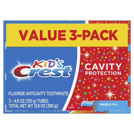 (Pack of 3) Crest Kid's Cavity Protection Toothpaste (children and toddlers 2+), Sparkle Fun Flavor, 4.6 ounces ()