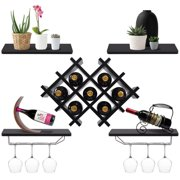 2033330bee Gymax Set of 5 Wall Mount Wine Rack Set Storage Shelves and Glass Holder  Black