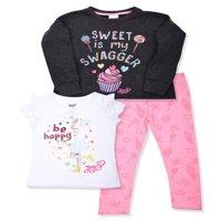 Jojo Siwa Graphic Sweatshirt, T-Shirts, And Legging, 3-Piece Outfit Set (Little Girls)