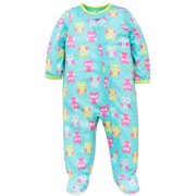 a421a646d6 Little Me Baby Girls Owl Soft Zip Footie Pajamas Footed Sleeper Aqua Pink  18M For Infant