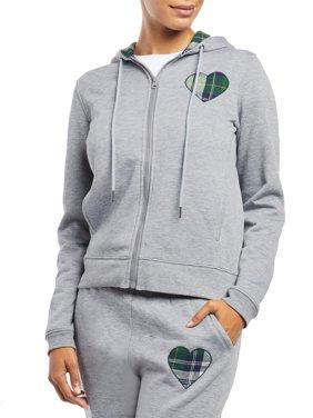 Plaid Heart Front Zip-Up Fleece Hoodie Women's