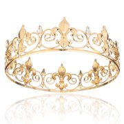 488fc4757507 Full Circle Men s Crown Imperial Medieval Tiara Fleur De Lis Gold King Crown  for Wedding Pageant