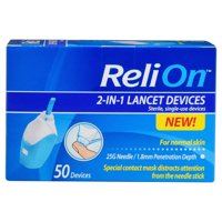 (2 Pack) ReliOn 25 Gauge Needle 2-In-1 Lancing Device For Normal Skin, 50 Ct