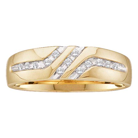 Size 10 - 10k Yellow Gold Mens Round Channel-set Diamond Triple Row Wedding Band Ring 1/8 Cttw 10k Mens Diamond Band