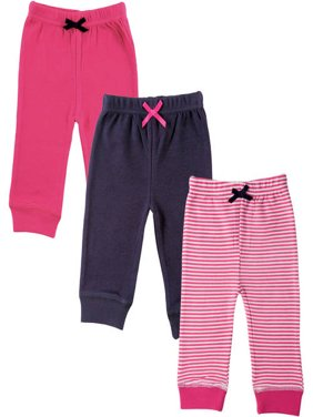 Luvable Friends Baby Girl Pants with Tapered Cuff, 3-Pack