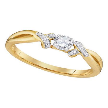 10kt Yellow Gold Womens Round Diamond Solitaire Twist Bridal Wedding Engagement Ring 1/3 Cttw (Diamond Solitaire Twist Ring)