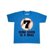 9282ee4d 7th Birthday Baseball 7 Year Old boy Youth T-Shirt