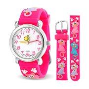 9335c8539ffa Cats Kitten Pet Paw Print Waterproof Wrist Watch Time Teacher Quartz 3D  Cartoon Pink Silicone Wristband