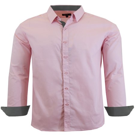 Mens Long Sleeve Slim Fit Solid Dress Shirts - image 1 of 9