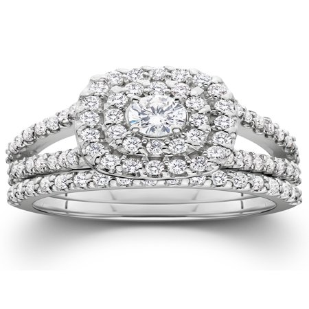 Halo Wedding Set - Pompeii3 1 1/10ct Cushion Halo Solitaire Diamond Engagement Wedding Ring Set White Gold