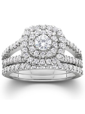 Pompeii3 1 1/10ct Cushion Halo Solitaire Diamond Engagement Wedding Ring Set White Gold