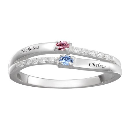 Personalized Couple's CZ Sterling Silver Name and Birthstone Ring