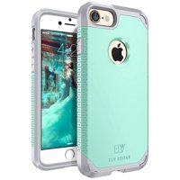 iPhone 7 Case, E LV SHOCK ABSORPTION / HIGH IMPACT RESISTANT Full Body Hybrid Armor Protection Defender Case Cover for Apple iPhone 7 - [MINT/GREY]