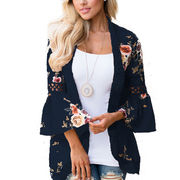 Plus Size Women Boho Long Sleeve Kimono Cardigan Open Front Floral Casual Blouse