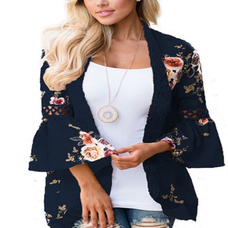 Plus Size Women Boho Long Sleeve Kimono Cardigan Open Front Floral Casual
