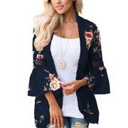 1d1eb6540f9f1 Plus Size Women Boho Long Sleeve Kimono Cardigan Open Front Floral Casual  Blouse