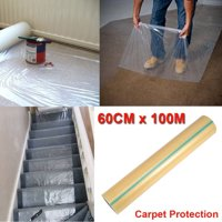 "Carpet Film Protector,24""×328' Plastic Protective Film for Temporary Stairs Rug Carpet Floor Runner Protection Heavy Duty Puncture And Water Resistant Roll"
