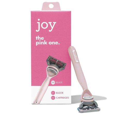 joy Razor, Handle + 2 razor blade refills (Pink)