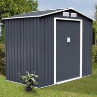 Costway 7' X 4' Outdoor Garden Storage Shed Tool House Sliding Door Steel Gray