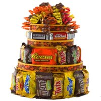 Autumn Treats Candy Cake gift basket