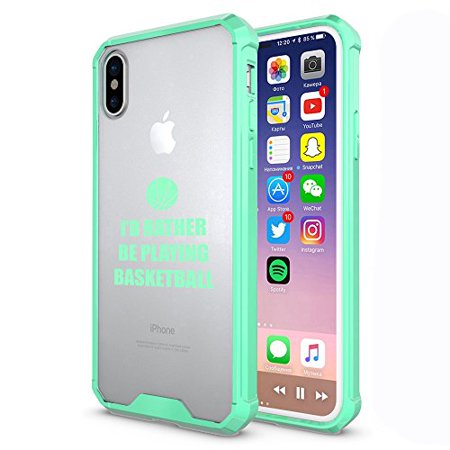 Clear Shockproof Bumper Case Hard Cover F0R Apple iPhone I'd Rather Be Playing Basketball (Mint, F0R Apple iPhone X/iPhone