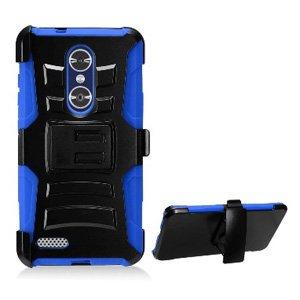 ZTE ZMAX Pro Case, Premium Rugged TUFF Hybrid Armor Hard Defender Case with Holster for ZTE ZMAX Pro Z981 - Black/ Blue, ShockProof, Belt Clip, Hard Shell, Soft -