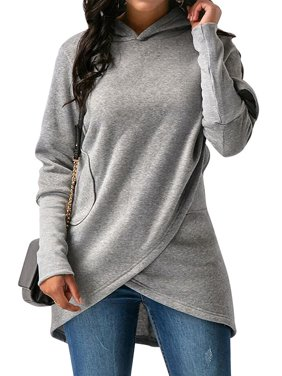 STARVNC Women Solid Color Long Sleeve Asymmetric Hem Hooded Sweatshirt