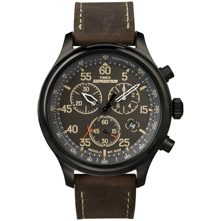 Men's Expedition Field Chronograph Watch, Brown Leather Strap ()