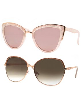 Time and Tru Women's Metal Sunglasses 2-Pack Bundle: Cat-Eye Sunglasses and Square Oversized Sunglasses