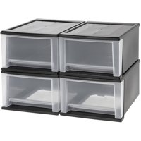 IRIS 17 Qt. Stacking Storage Drawer, Black Set of 4