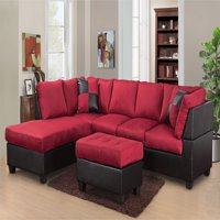 Master Furniture Sectional Sofa Modern Fabric Microfiber Faux Leather Sectional Sofa 3Pc 6 Color