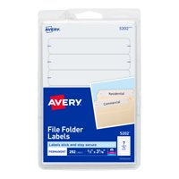Avery File Folder Labels, Permanent Adhesive, 1/3 Cut, 252 Labels (5202)