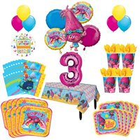 Trolls Poppy 3rd Birthday Party Supplies 16 Guest Kit and Balloon Bouquet Decorations 95 pc