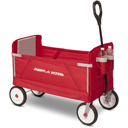 260 Wagon - Radio Flyer, 3-in-1 EZ Fold Wagon, Padded Seat with Seat Belts, Red