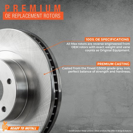 Max Brakes Front Premium Brake Kit [ OE Series Rotors + Ceramic Pads ] KT140841 | Fits: 2014 14 2015 15 Chevy Cruze GAS Engine Models w/276mm Front Rotor - image 1 of 8