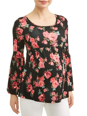 Maternity Long Sleeve Floral Top with Empire Waist