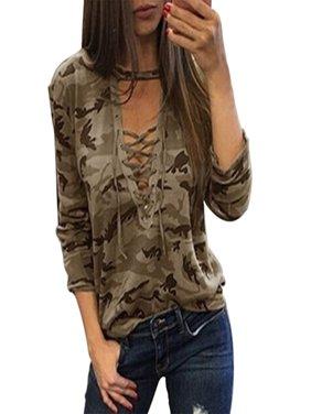 Bonrich Camouflage Print Lace-up T-shirt Women Long Sleeve V-neck Tops Bandage Summer T-shirt Blouse