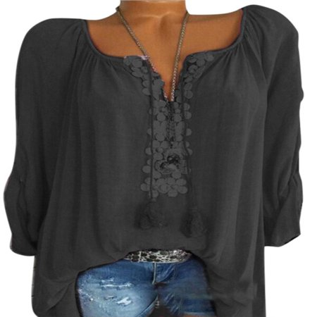 Boho Women Summer Plain Shirt Tops Long Sleeve Blouse Gypsy Beach - Organza Long Sleeve