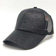 c2cde84041f8d 2018 New Fashion Women Messy High Bun Ponytail Adjustable Glitter Mesh  Trucker Baseball Pony Cap -