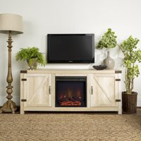"""58"""" Barn Door Farmhouse Fireplace TV Stand for TVs up to 65"""" - White Oak"""