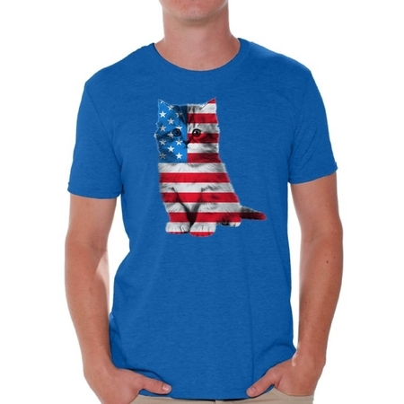 Awkward Styles Cat Shirts Mens USA Flag Patriotic Graphic Tshirt Tops 4th of July Gifts Cute Kitten American Flag T Shirt for Men Independence Day Stars and Stripes Shirts Cat Lover Shirts](Chucky Shirt Stripes)