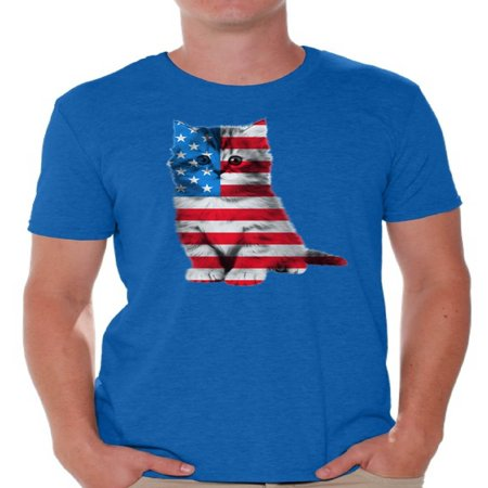 Awkward Styles Cat Shirts Men's USA Flag Patriotic Graphic T-shirt Tops 4th of July Gifts Cute Kitten American Flag T Shirt for Men Independence Day Stars and Stripes Shirts Cat Lover Shirts