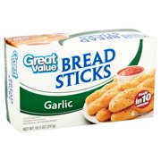Great Value Garlic Bread Sticks, 10.5 oz, 6 Count