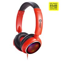 Contixo Kids Safe Stereo Bluetooth Headphones with Volume Limiter Built in Colorful LED Lights, Microphone, FM Radio, MicroSD Card Player, 3.5mm Cable Music Streaming (Red)