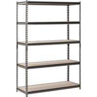 """Muscle Rack 5-Shelf Steel Shelving, Silver-Vein, 18"""" D x 48"""" W x 72"""" H"""